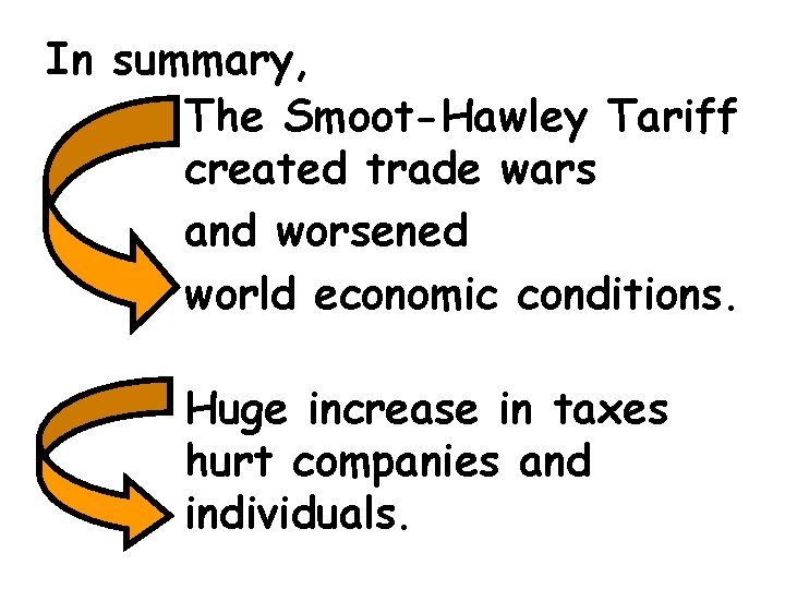 In summary, The Smoot-Hawley Tariff created trade wars and worsened world economic conditions. Huge