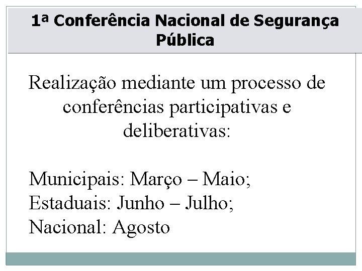 1ª Conferência Nacional de Segurança Pública Realização mediante um processo de conferências participativas e