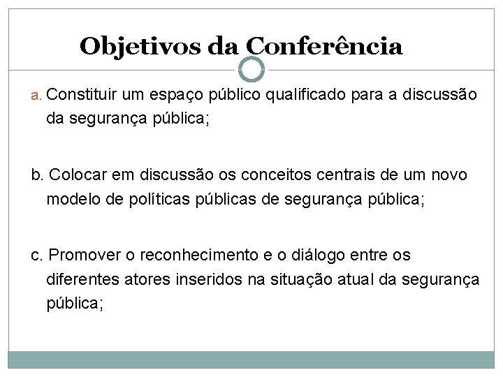 Objetivos da Conferência a. Constituir um espaço público qualificado para a discussão da segurança