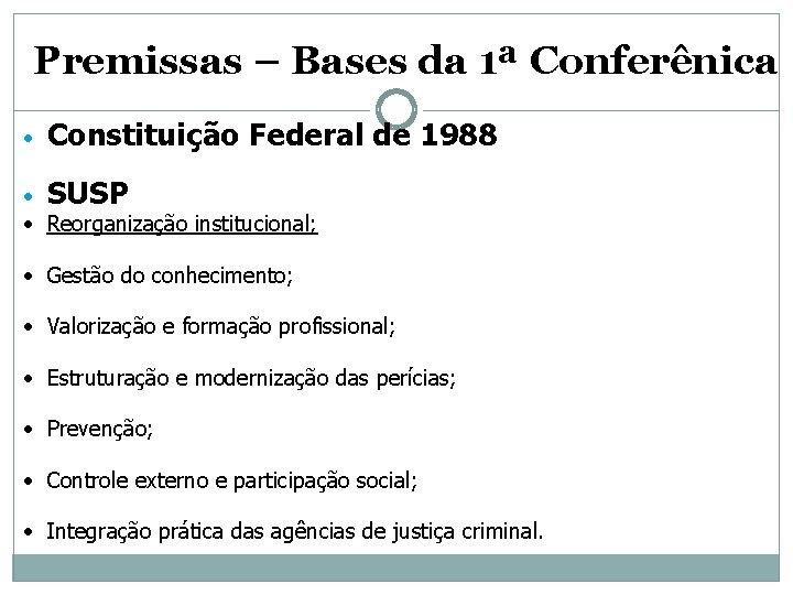 Premissas – Bases da 1ª Conferênica • Constituição Federal de 1988 • SUSP •