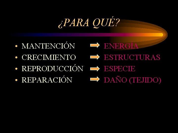 ¿PARA QUÉ? • • MANTENCIÓN CRECIMIENTO REPRODUCCIÓN REPARACIÓN ENERGÍA ESTRUCTURAS ESPECIE DAÑO (TEJIDO)