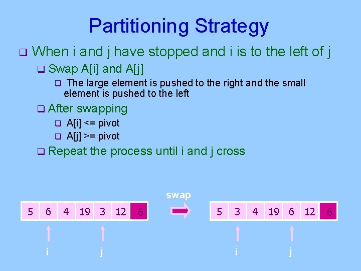 Partitioning Strategy q When i and j have stopped and i is to the