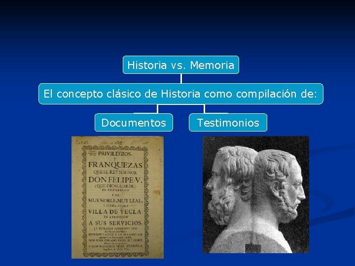 Historia vs. Memoria El concepto clásico de Historia como compilación de: Documentos Testimonios