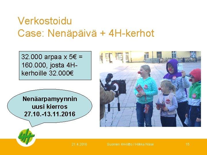 Verkostoidu Case: Nenäpäivä + 4 H-kerhot 32. 000 arpaa x 5€ = 160. 000,