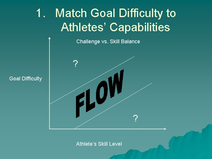1. Match Goal Difficulty to Athletes' Capabilities Challenge vs. Skill Balance ? Goal Difficulty