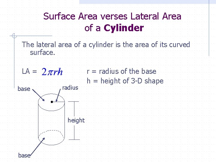 Surface Area verses Lateral Area of a Cylinder The lateral area of a cylinder