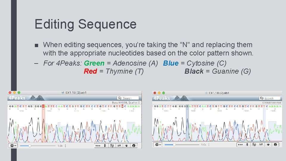 """Editing Sequence ■ When editing sequences, you're taking the """"N"""" and replacing them with"""