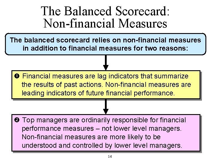 The Balanced Scorecard: Non-financial Measures The balanced scorecard relies on non-financial measures in addition