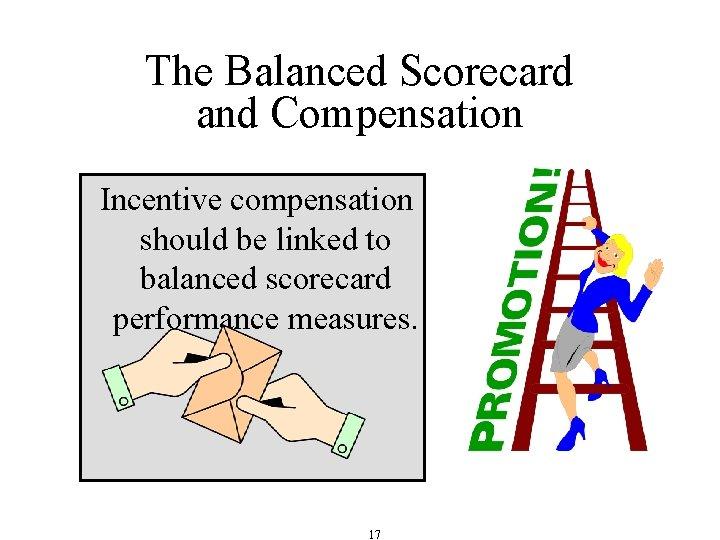 The Balanced Scorecard and Compensation Incentive compensation should be linked to balanced scorecard performance