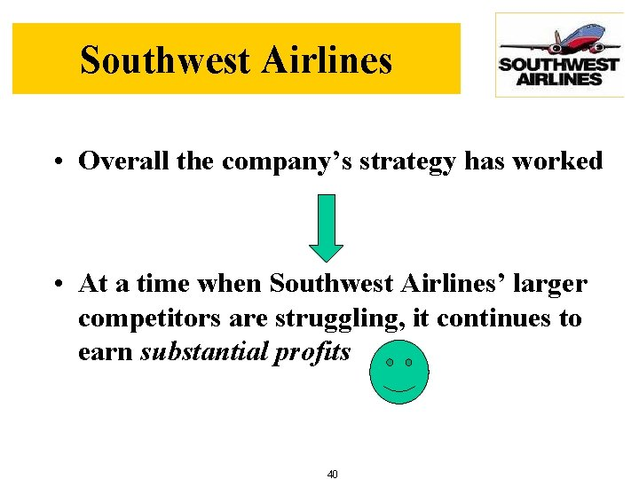 Southwest Airlines • Overall the company's strategy has worked • At a time when