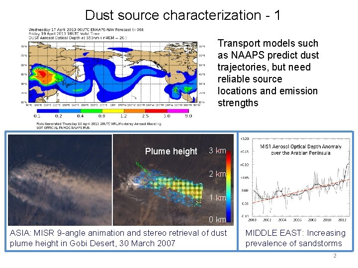 Dust source characterization - 1 Transport models such as NAAPS predict dust trajectories, but