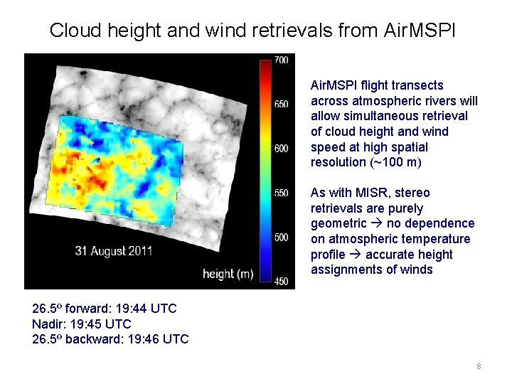 Cloud height and wind retrievals from Air. MSPI flight transects across atmospheric rivers will