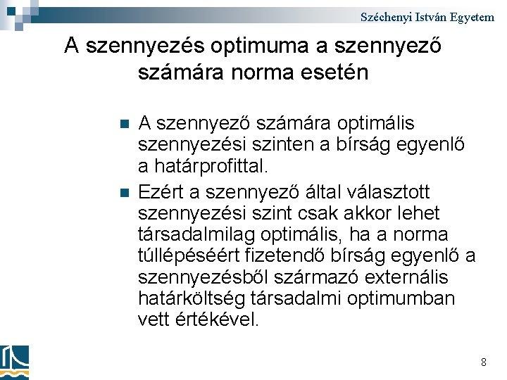 Széchenyi István Egyetem A szennyezés optimuma a szennyező számára norma esetén n n A