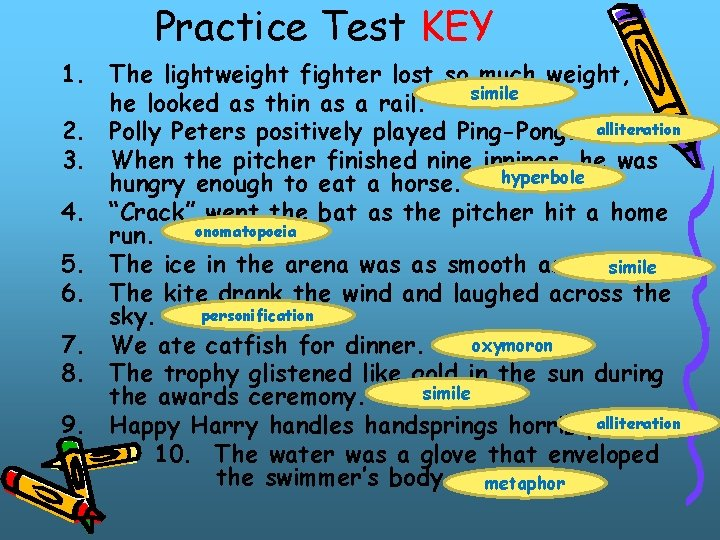 Practice Test KEY 1. The lightweight fighter lost so much weight, simile he looked