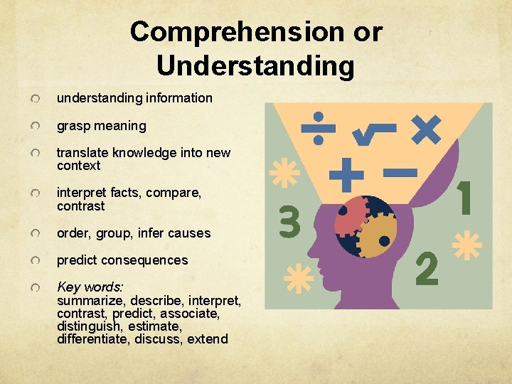 Comprehension or Understanding understanding information grasp meaning translate knowledge into new context interpret facts,