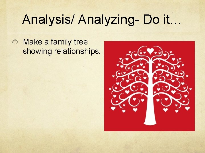 Analysis/ Analyzing- Do it… Make a family tree showing relationships.
