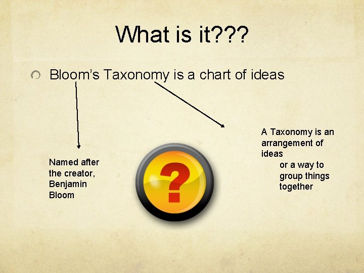 What is it? ? ? Bloom's Taxonomy is a chart of ideas Named after