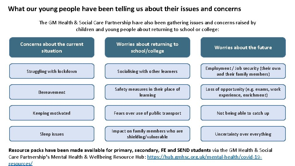 What our young people have been telling us about their issues and concerns The