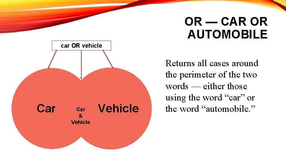 OR — CAR OR AUTOMOBILE car OR vehicle Car & Vehicle Returns all cases