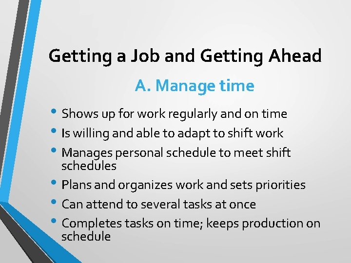 Getting a Job and Getting Ahead A. Manage time • Shows up for work