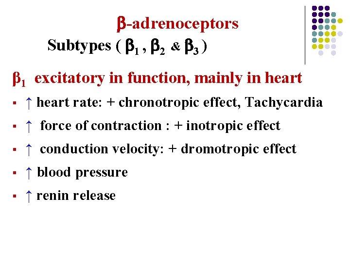 -adrenoceptors Subtypes ( 1 , 2 & 3 ) β 1 excitatory in