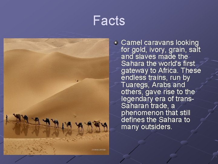 Facts Camel caravans looking for gold, ivory, grain, salt and slaves made the Sahara
