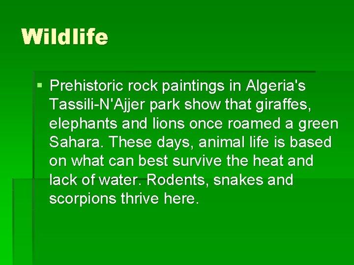 Wildlife § Prehistoric rock paintings in Algeria's Tassili-N'Ajjer park show that giraffes, elephants and