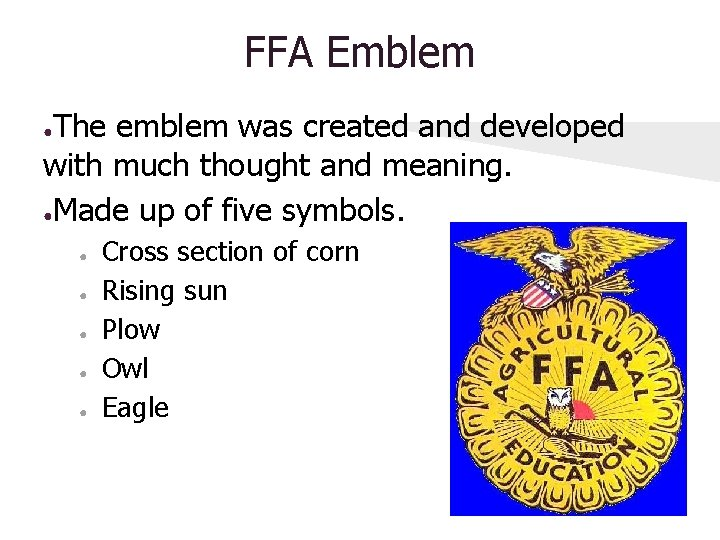 FFA Emblem The emblem was created and developed with much thought and meaning. ●Made
