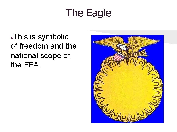 The Eagle This is symbolic of freedom and the national scope of the FFA.