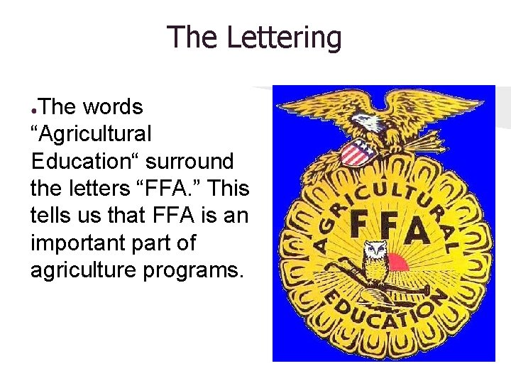 """The Lettering The words """"Agricultural Education"""" surround the letters """"FFA. """" This tells us"""
