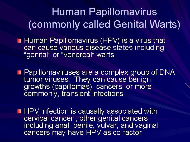 human papillomavirus perianal warts