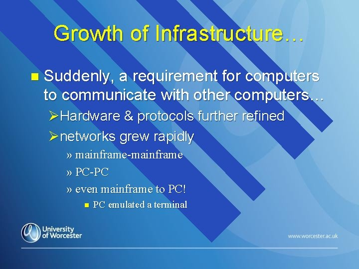 Growth of Infrastructure… n Suddenly, a requirement for computers to communicate with other computers…