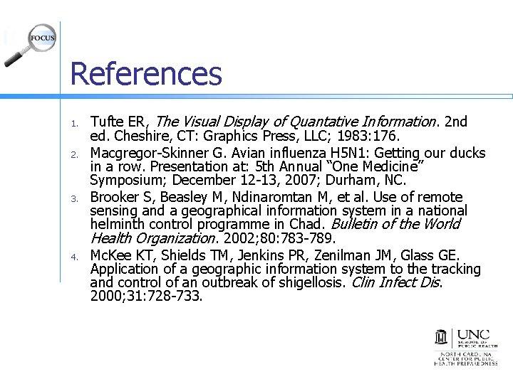 References 1. 2. 3. 4. Tufte ER, The Visual Display of Quantative Information. 2