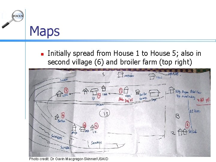 Maps n Initially spread from House 1 to House 5; also in second village