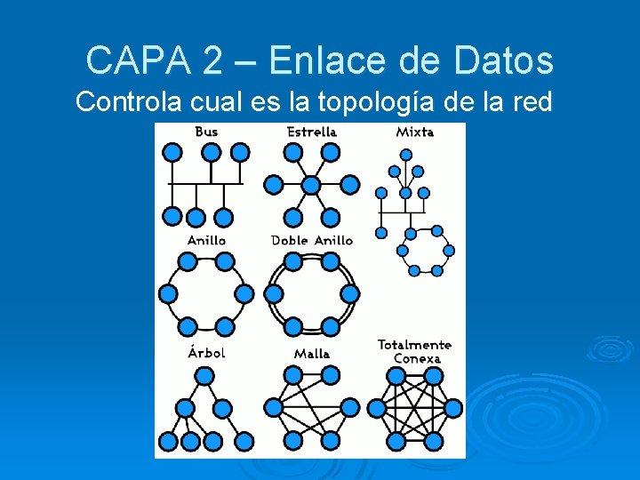 CAPA 2 – Enlace de Datos Controla cual es la topología de la red
