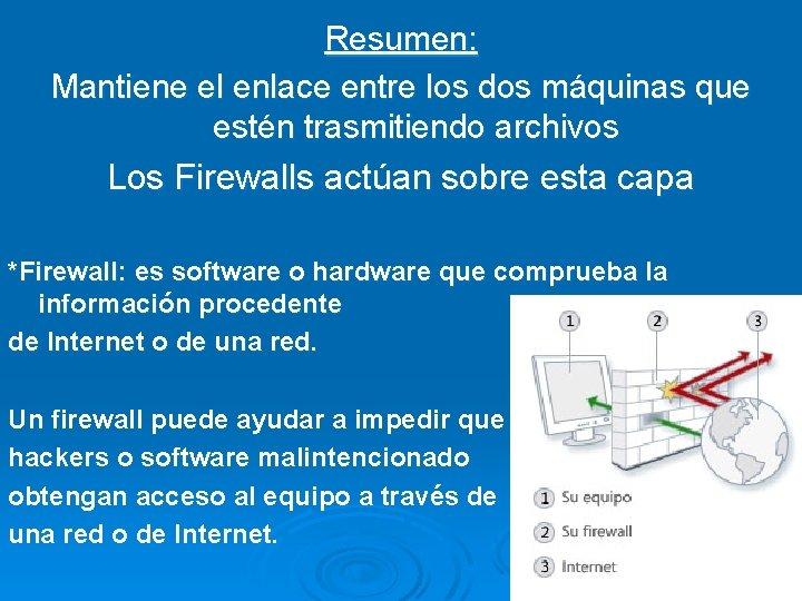 Resumen: Mantiene el enlace entre los dos máquinas que estén trasmitiendo archivos Los Firewalls