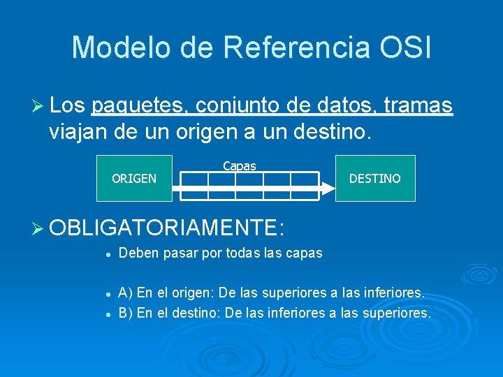 Modelo de Referencia OSI Ø Los paquetes, conjunto de datos, tramas viajan de un