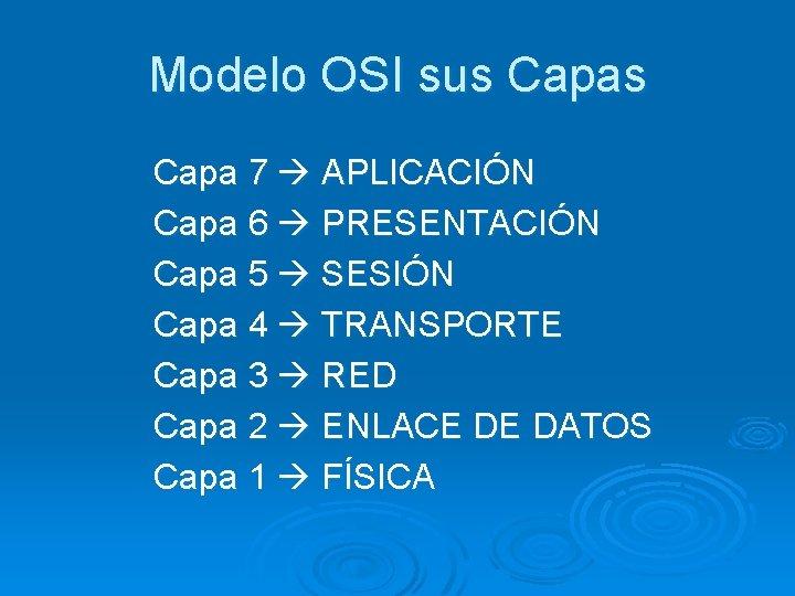 Modelo OSI sus Capa 7 APLICACIÓN Capa 6 PRESENTACIÓN Capa 5 SESIÓN Capa 4