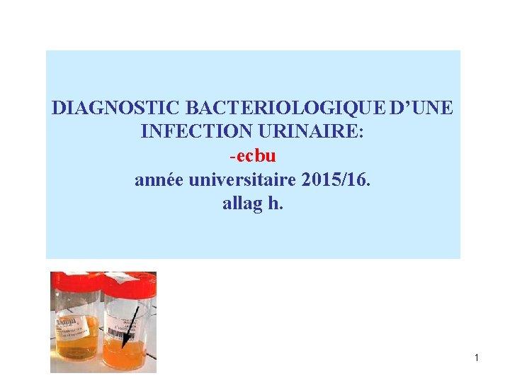 DIAGNOSTIC BACTERIOLOGIQUE D'UNE INFECTION URINAIRE: -ecbu année universitaire 2015/16. allag h. 1