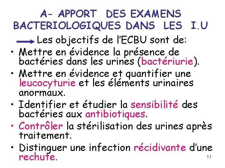 A- APPORT DES EXAMENS BACTERIOLOGIQUES DANS LES I. U Les objectifs de l'ECBU sont