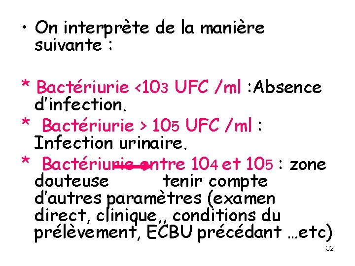• On interprète de la manière suivante : * Bactériurie <103 UFC /ml