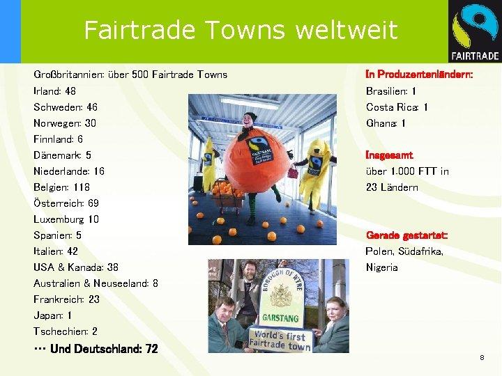 Fairtrade Towns weltweit Großbritannien: über 500 Fairtrade Towns Irland: 48 Schweden: 46 Norwegen: 30