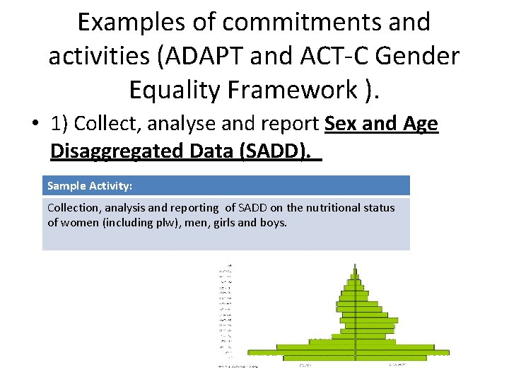 Examples of commitments and activities (ADAPT and ACT-C Gender Equality Framework ). • 1)