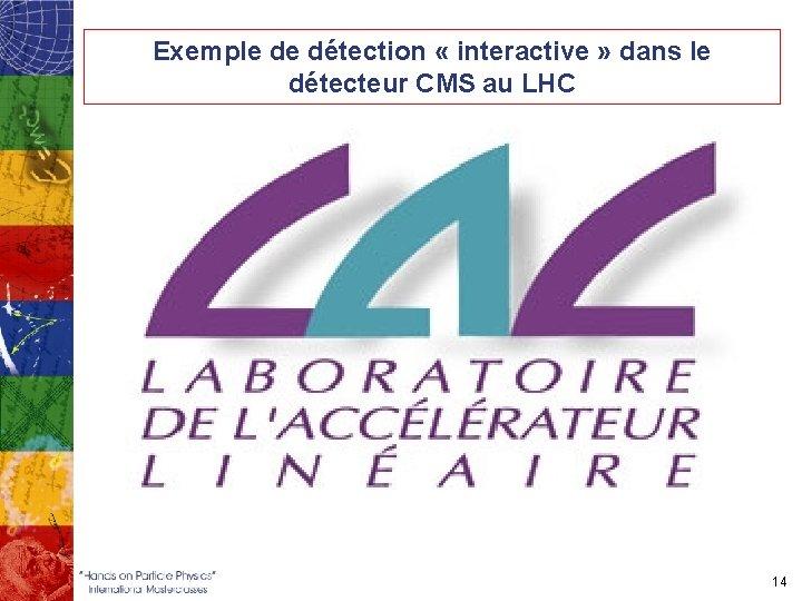 Exemple de détection « interactive » dans le détecteur CMS au LHC 14