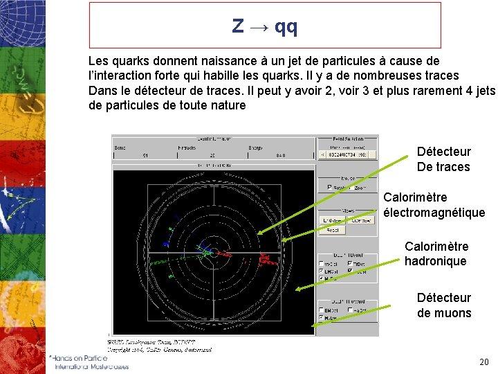 Z → qq Les quarks donnent naissance à un jet de particules à cause