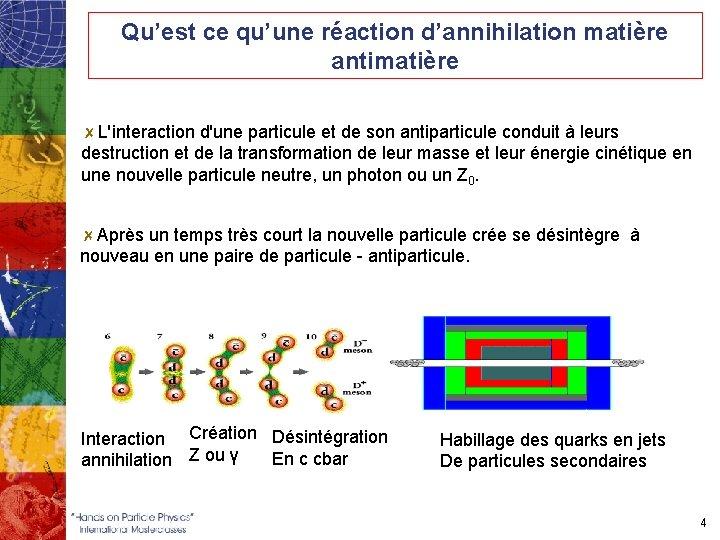 Qu'est ce qu'une réaction d'annihilation matière antimatière L'interaction d'une particule et de son antiparticule