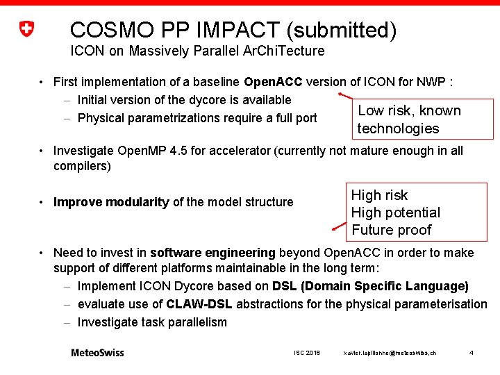 COSMO PP IMPACT (submitted) ICON on Massively Parallel Ar. Chi. Tecture • First implementation