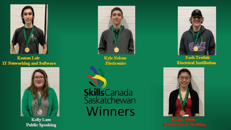 Keaton Lair IT Networking and Software Kelly Lam Public Speaking Kyle Nelson Electronics Winners