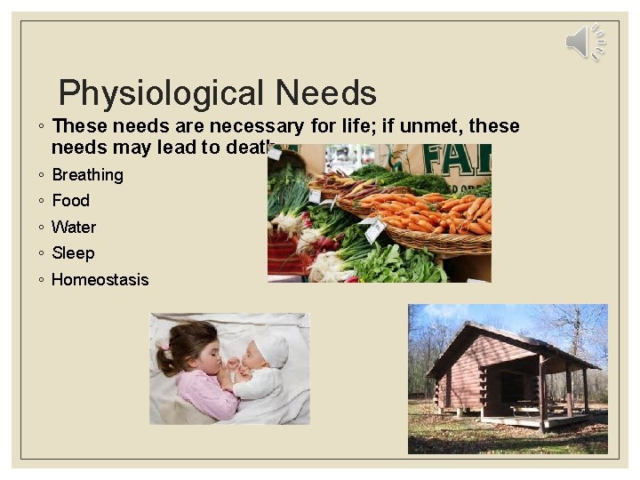 Physiological Needs ◦ These needs are necessary for life; if unmet, these needs may