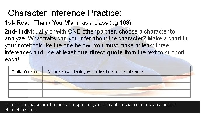 """Character Inference Practice: 1 st- Read """"Thank You M'am"""" as a class (pg 108)"""